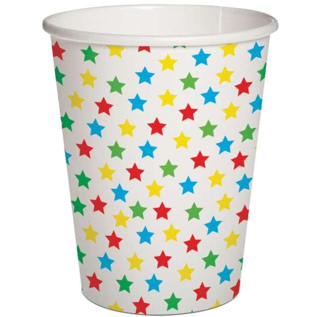 Kubeczki papierowe Kolorowe gwiazdki białe  PAW 250 ml 10szt
