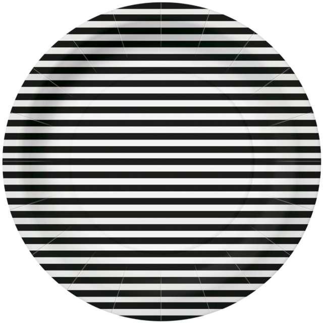"""Talerzyki papierowe """"Paski"""", czarno-białe, PAW, 23 cm, 10 szt"""