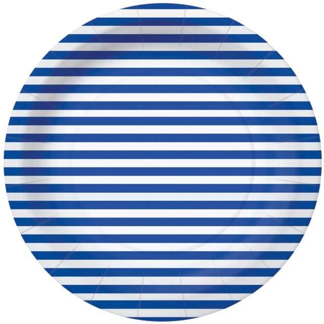 Talerzyki papierowe Paski niebiesko-białe PAW 18 cm 10 szt