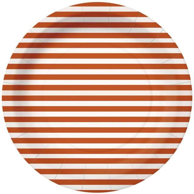 """Talerzyki papierowe """"Paski"""", pomarańczowo-białe, PAW, 18 cm, 10 szt"""