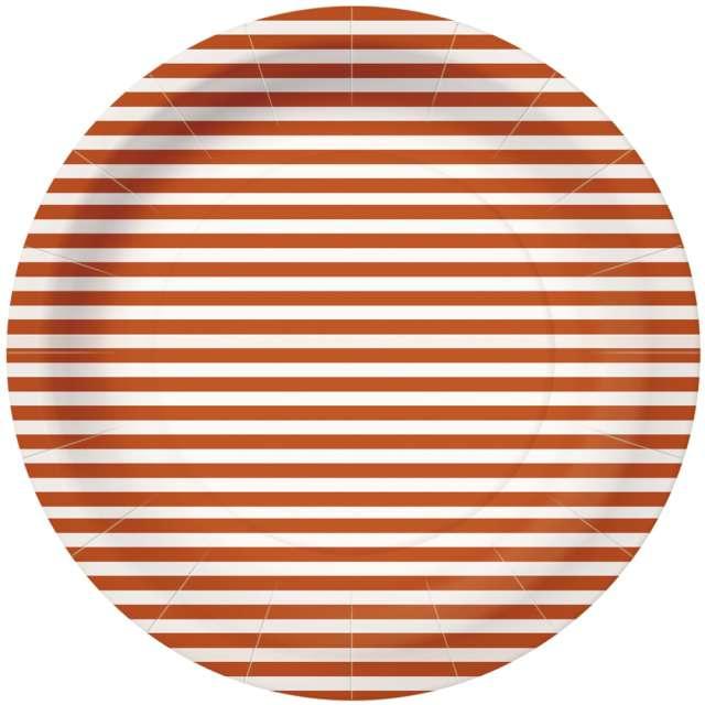 """Talerzyki papierowe """"Paski"""", pomarańczowo-białe, PAW, 23 cm, 10 szt"""
