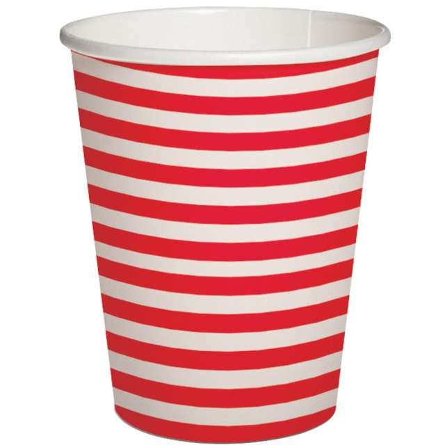 """Kubeczki papierowe """"Poziome paski"""", biało-czerwone, PAW, 250 ml, 10 szt"""