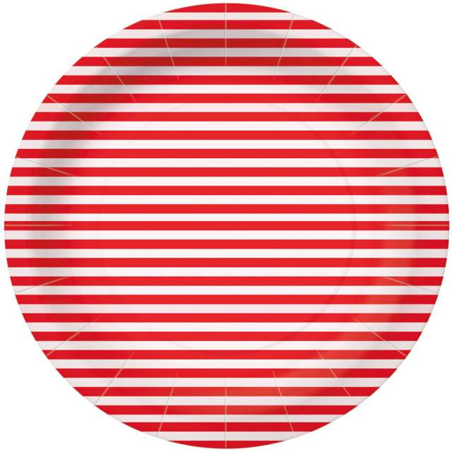 _xx_STRIPES - red paper plate (O) 23 cm