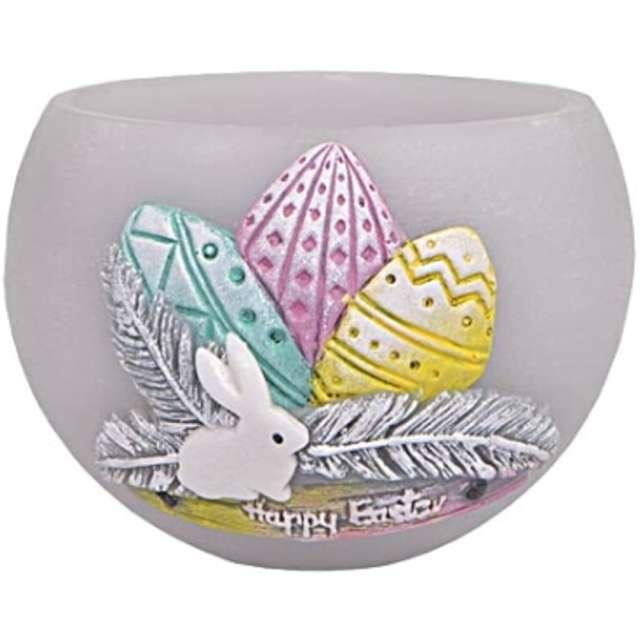 "Lampion ""Wielkanocna kula z pisankami"", szara, Adpal, 120 mm"