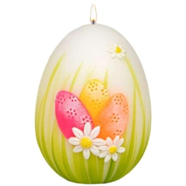 """Świeca """"Wielkanocne jajko z pisankami"""", biało-zielona, Adpal, 140/100 mm"""