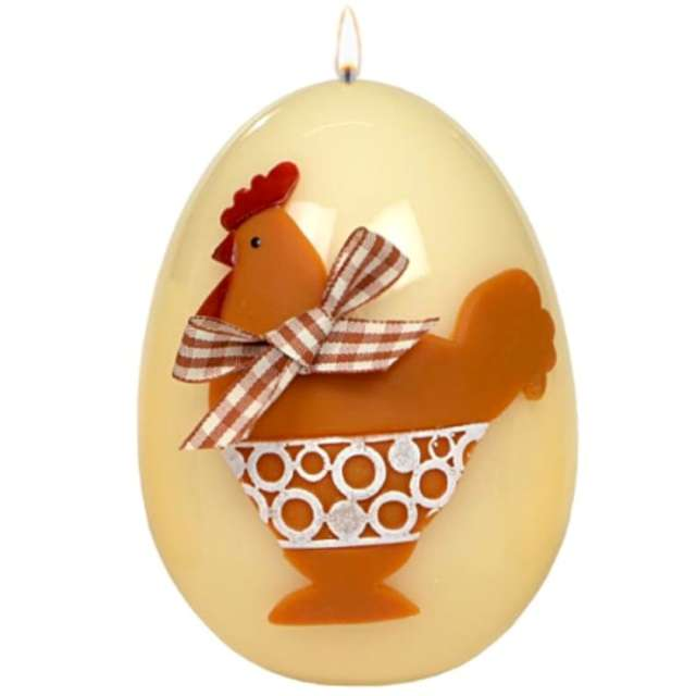 "Świeca ""Wielkanocne jajko - Kokoszka"", ecru. Adpal, 140/100 mm"