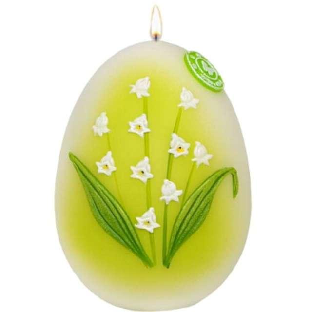 """Świeca """"Wielkanocne jajko - Konwalia"""", biało-zielona, Adpal, 140/100 mm"""