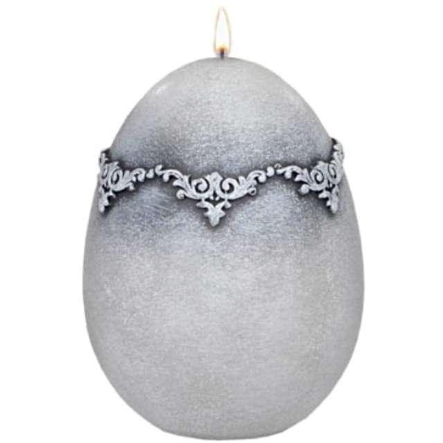 "Świeca ""Wielkanocne jajko - Marmur"", szare, Adpal, 140/100 mm"