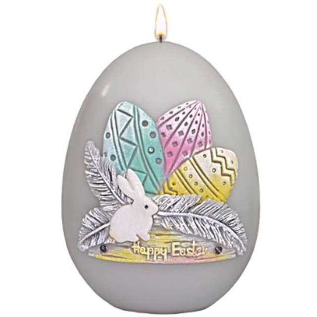 """Świeca """"Wielkanocne jajko z pisankami"""", szare, Adpal, 140/100 mm"""