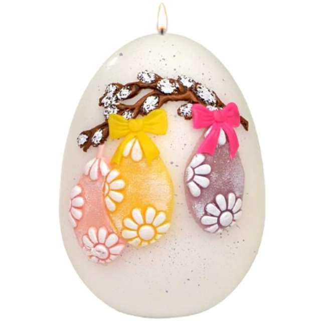 """Świeca """"Wielkanocne jajko ze stroikiem"""", białe, Adpal, 140/100 mm"""