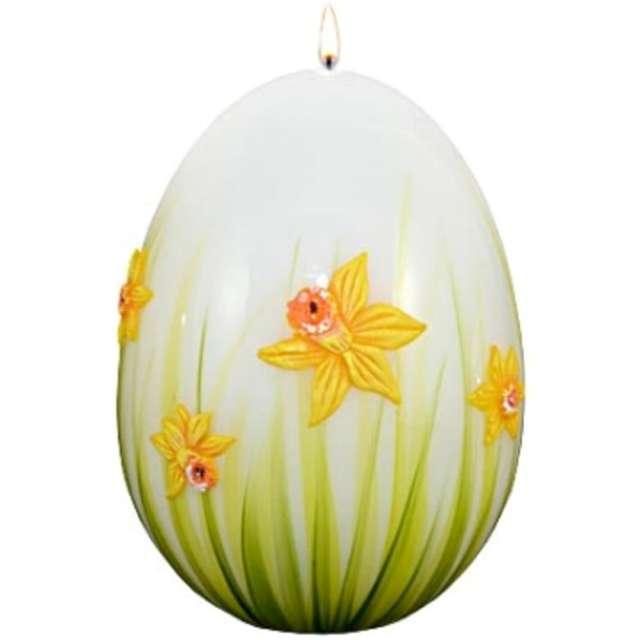 """Świeca """"Wielkanocne jajko z żonkilem"""", biało-zielone, Adpal, 140/100 mm"""