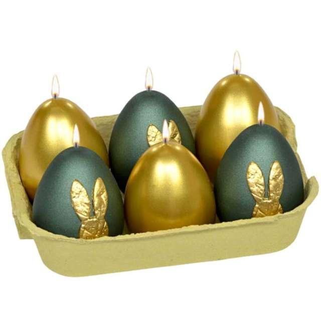 """Świece """"Wielkanocne jajko - mix Króliczek"""", zielono-złote, Adpal, 60/45 mm"""