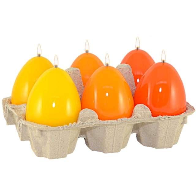 """Świece """"Wielkanocne jajko - mix lakierowany"""", żółto-pomarańczowy, Adpal, 60/45 mm"""