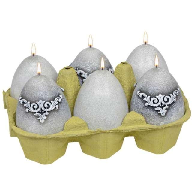 "Świece ""Wielkanocne jajko - mix Marmur"", szare, Adpal, 60/45 mm"