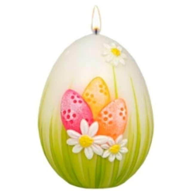 """Świeca """"Wielkanocne jajko z pisankami"""", biało-zielona, Adpal, 90/70 mm"""
