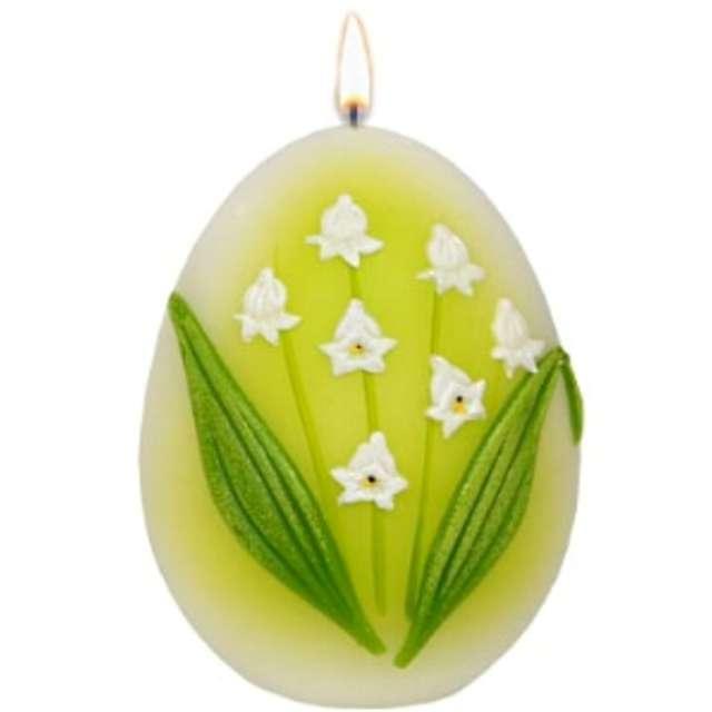 """Świeca """"Wielkanocne jajko - Konwalia"""", biało-zielona, Adpal, 90/70 mm"""