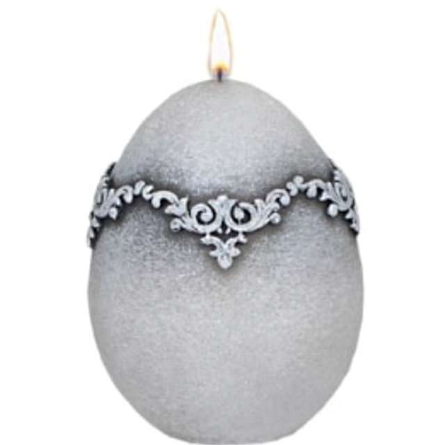 "Świeca ""Wielkanocne jajko - Marmur"", szare, Adpal, 90/70 mm"