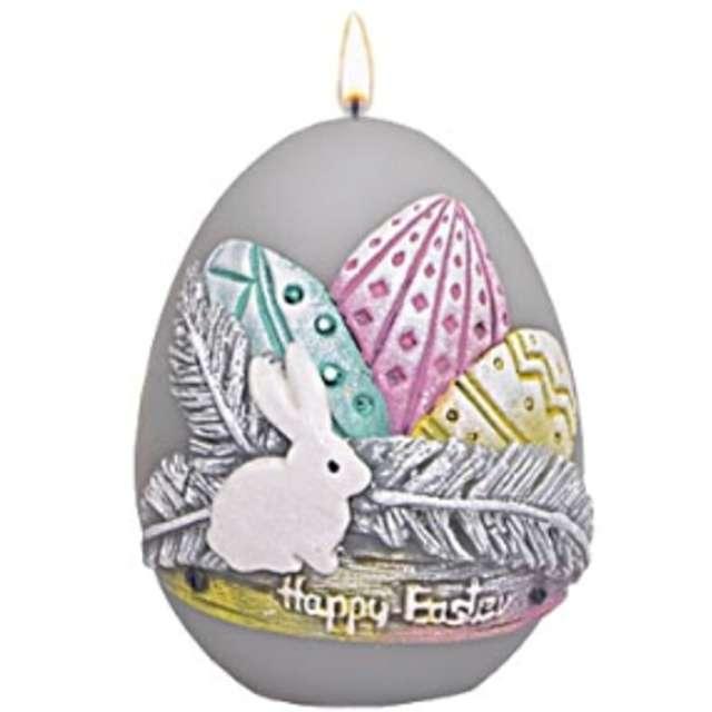 """Świeca """"Wielkanocne jajko z pisankami"""", szare, Adpal, 90/70 mm"""