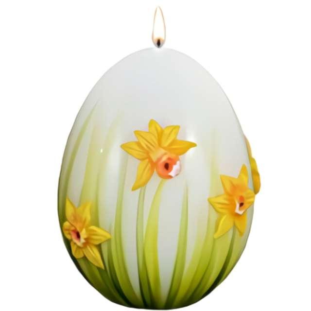 """Świeca """"Wielkanocne jajko z żonkilem"""", biało-zielone, Adpal, 90/70 mm"""