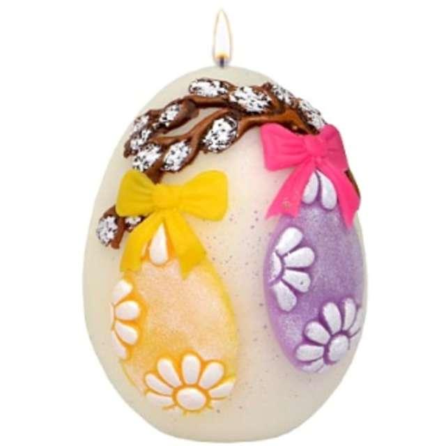 """Świeca """"Wielkanocne jajko ze stroikiem"""", białe, Adpal, 90/70 mm"""