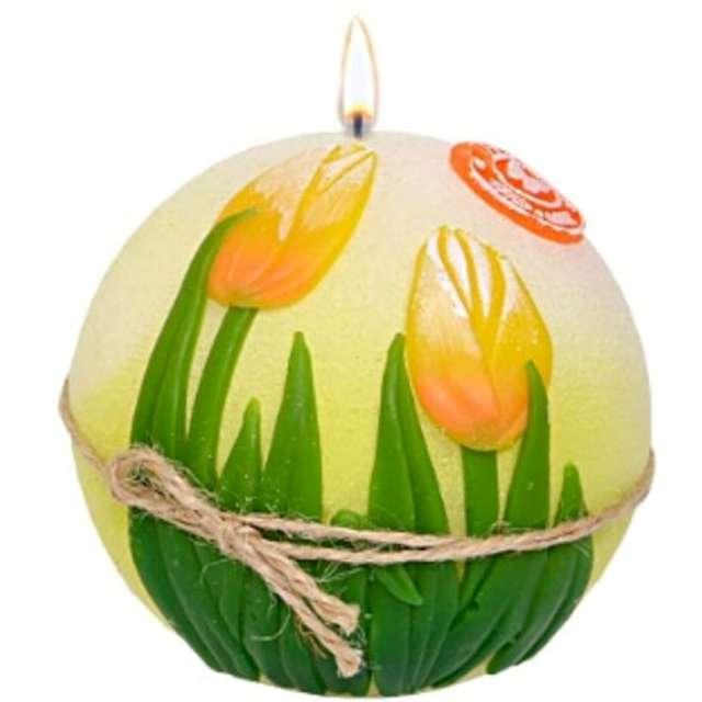 """Świeca """"Kula - Żółte tulipany, dioda LED"""", Adpal, 100 mm"""