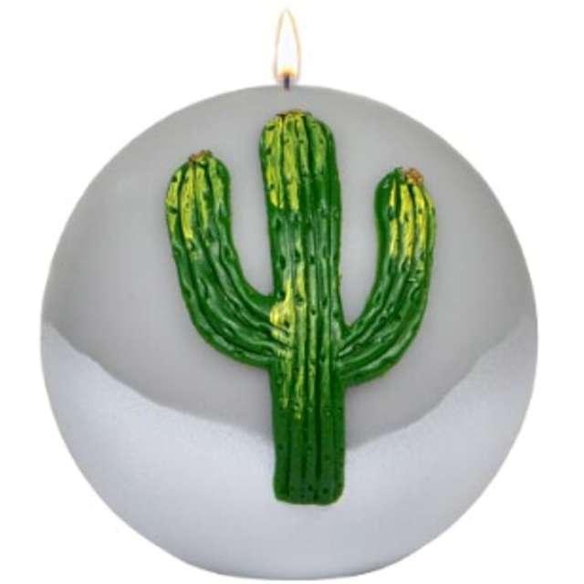 Świeca Kula - Zielony kaktus szara Adpal 100 mm