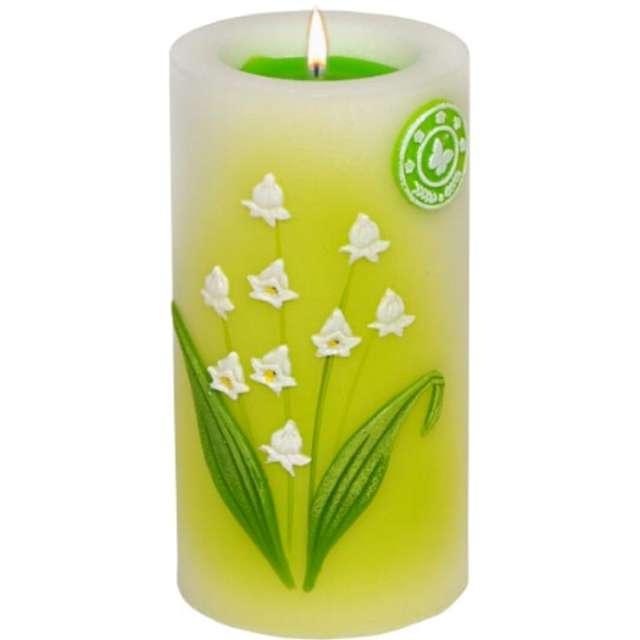 """Świeca pieńkowa """"Lampion z kwiatami konwalii"""", biało-zielony, Adpal, 140/70 mm"""