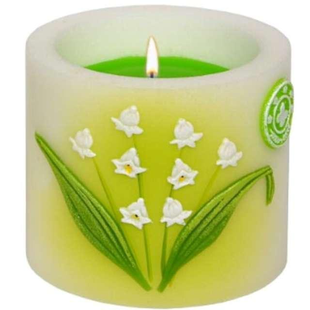 """Świeca pieńkowa """"Lampion z kwiatami konwalii"""", biało-zielony, Adpal, 90/100 mm"""