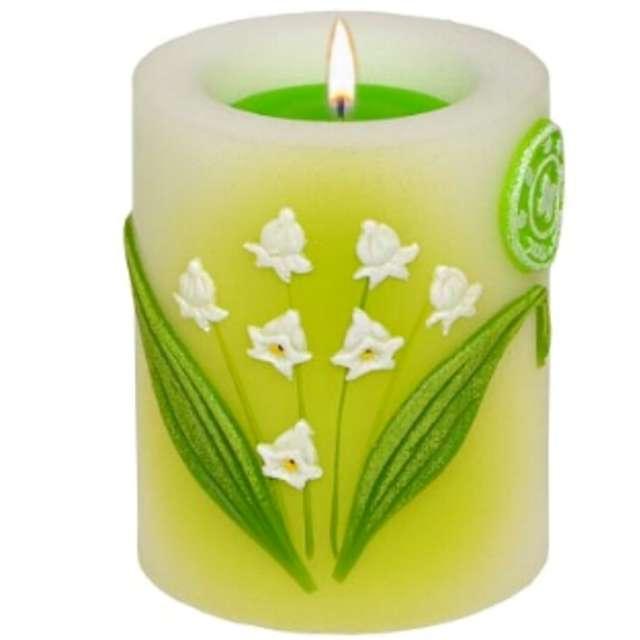 """Świeca pieńkowa """"Lampion z kwiatami konwalii"""", biało-zielony, Adpal, 90/70 mm"""