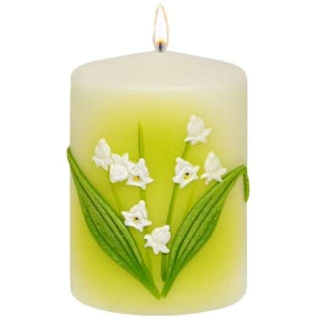 """Świeca pieńkowa """"Wielkanocna Konwalia"""", biała, Adpal, 100/70 mm"""