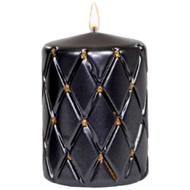 Świeca pieńkowa Pikowana metaliczna czarna Adpal 100/70 mm