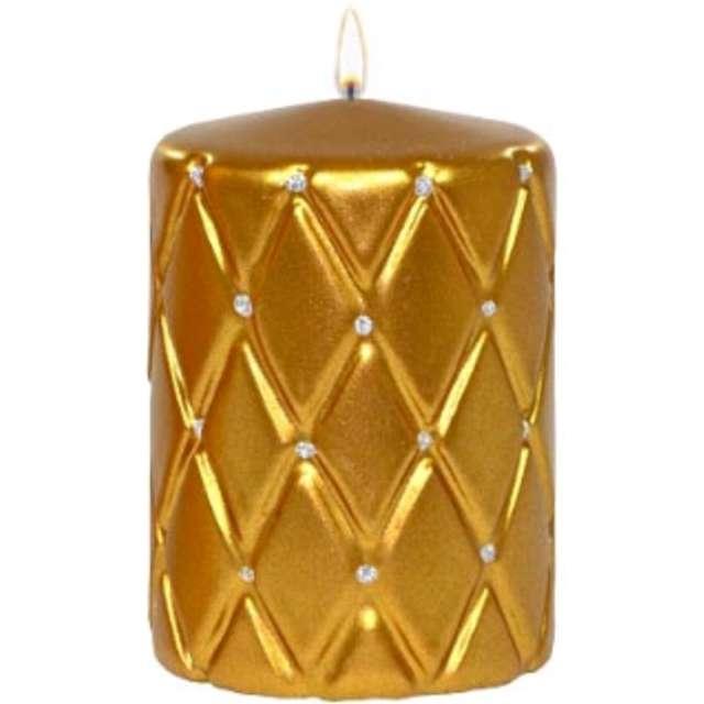 Świeca pieńkowa Pikowana metaliczna złota Adpal 100/70 mm