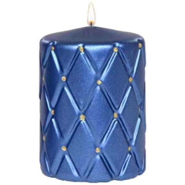 Świeca pieńkowa Pikowana metaliczna niebieska Adpal 100/70 mm