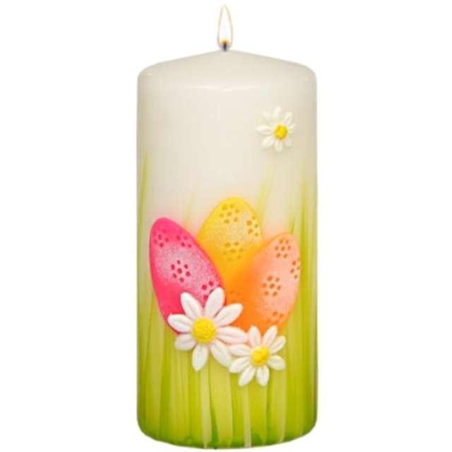 """Świeca pieńkowa """"Wielkanocne pisanki"""", biała, Adpal, 150/70 mm"""
