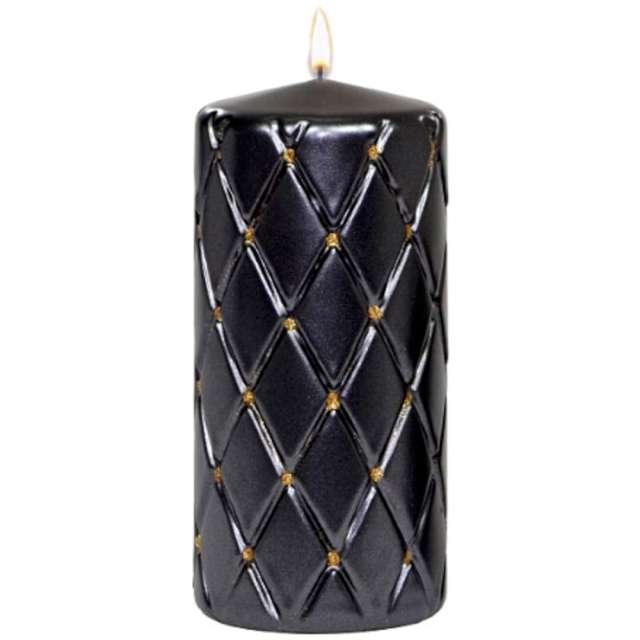 """Świeca pieńkowa """"Pikowana metaliczna"""", czarna, Adpal, 150/70 mm"""