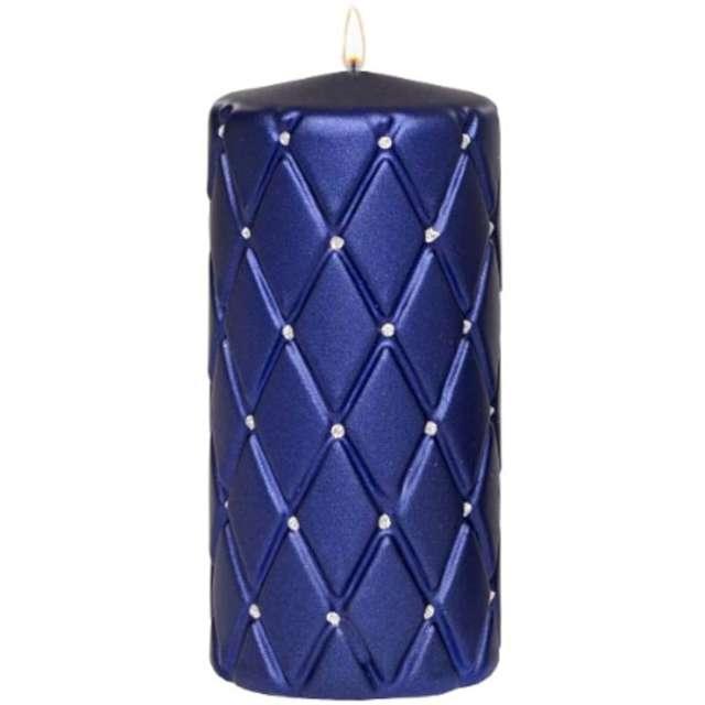 Świeca pieńkowa Pikowana metaliczna granatowa Adpal 150/70 mm