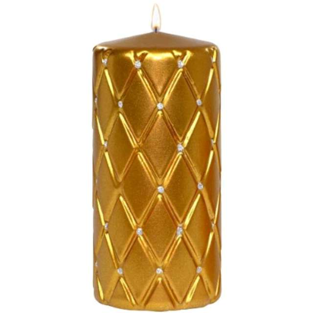 """Świeca pieńkowa """"Pikowana metaliczna"""", złota, Adpal, 150/70 mm"""