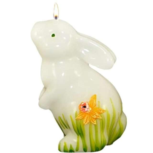 """Świeca """"Wielkanocny zając w żonkilach, stojący"""", biała, Adpal, 110/80 mm"""