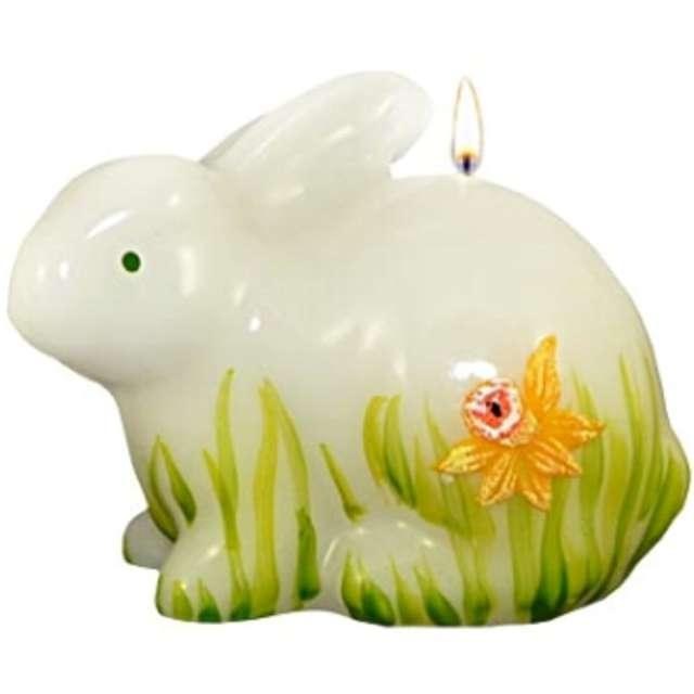 """Świeca """"Wielkanocny zając w żonkilach, siedzący"""", biała, Adpal, 100/80 mm"""