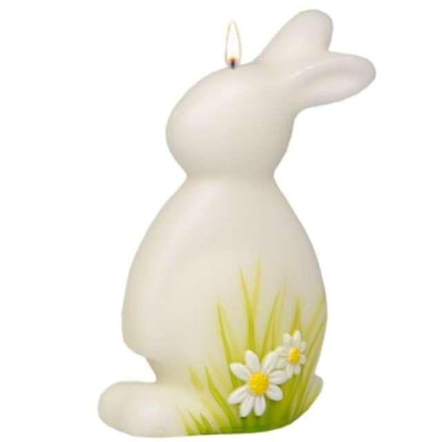 """Świeca """"Wielkanocny zając w stokrotkach"""", biała, Adpal, 190/110 mm"""