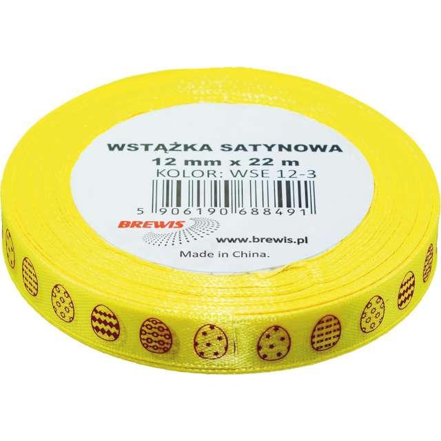 Tasiemka satynowa Świąteczna - pisanki żółta Brewis 12 mm / 22 m