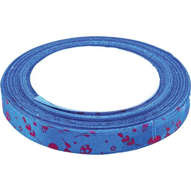 """Tasiemka satynowa """"Świąteczna - bazie i kwiatki"""", niebieska, Brewis, 12 mm / 22 m"""