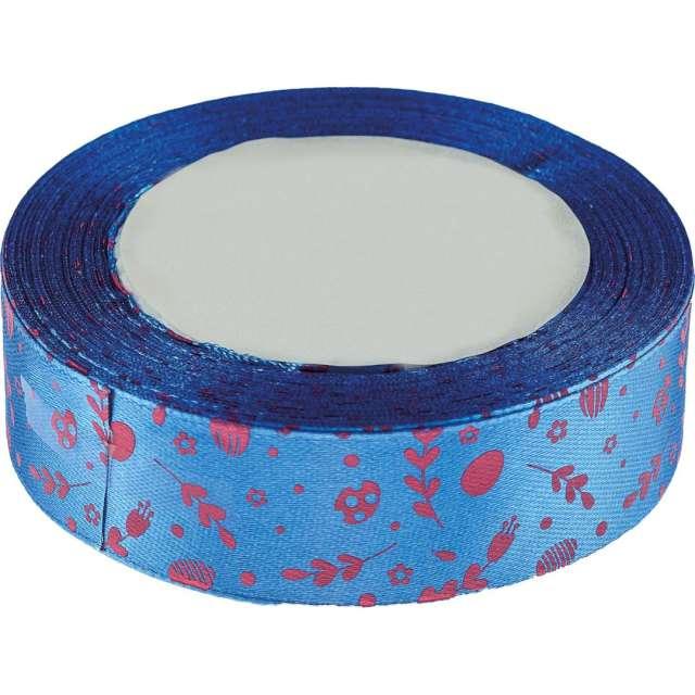"""Tasiemka satynowa """"Świąteczna - bazie i kwiatki"""", niebieska, Brewis, 25 mm / 22 m"""