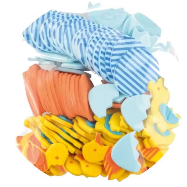 Naklejki Piankowe - Wielkanocne pisanki w paski i pisklaki Brewis 75 szt