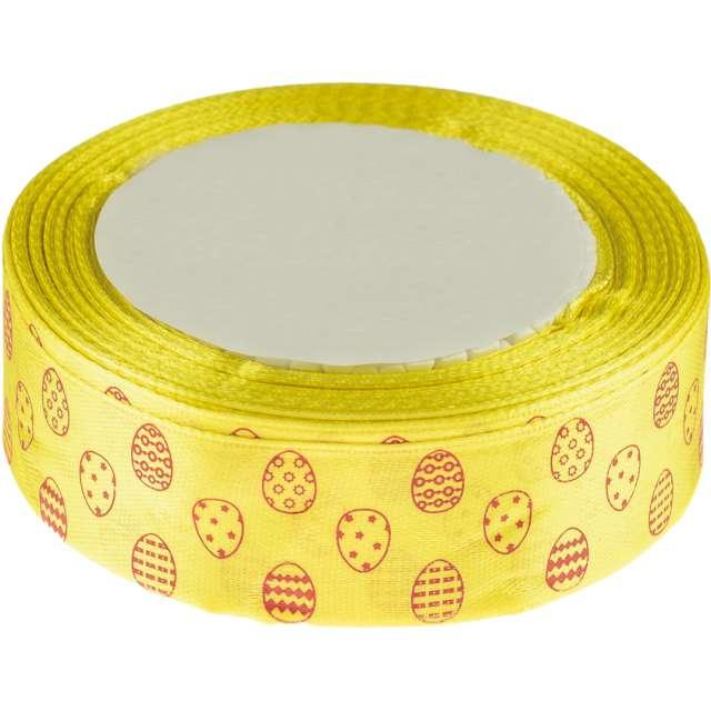 """Tasiemka satynowa """"Świąteczna - pisanki"""", żółta, Brewis, 25 mm / 22 m"""
