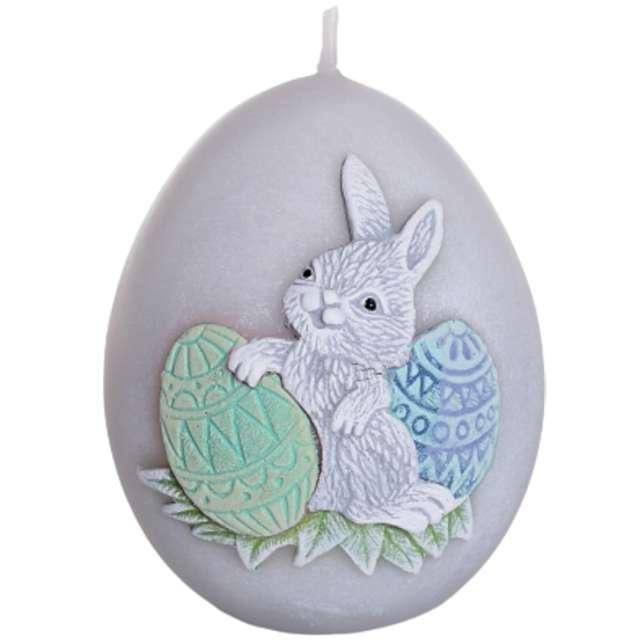 """Świeca """"Wielkanoc - jajko z zajączkiem"""", szaro-zielona, Bartek-Candles, 100 mm, 4 szt."""