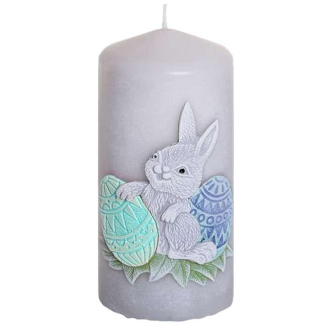 """Świeca pieńkowa """"Wielkanoc z zajączkiem"""", szaro-zielona, Bartek-Candles, 130 mm"""