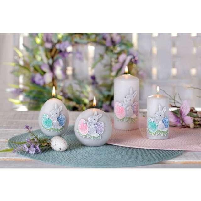 Świeca pieńkowa Wielkanoc z zajączkiem szaro-zielona Bartek-Candles 130 mm