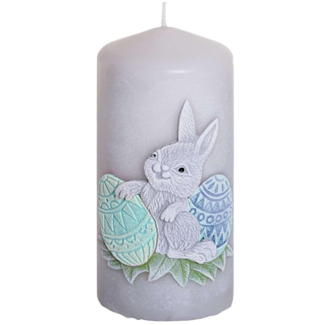 """Świeca pieńkowa """"Wielkanoc z zajączkiem"""", szaro-zielona, Bartek-Candles, 100 mm"""