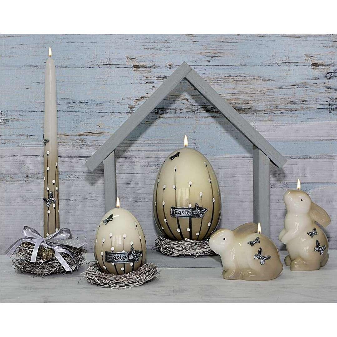 Świeca Wielkanocna - Zając stojący biało-szara 11cm